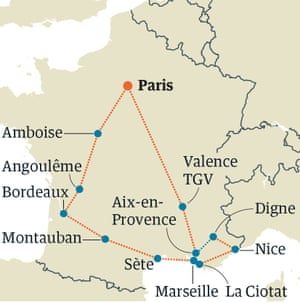 Map Of France With Paris.France By Train Paris Bordeaux Provence Round Trip Travel The