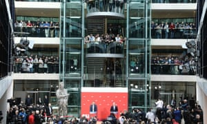 The results of the poll are announced at the SPD party headquarters in Berlin