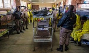 Overcrowded sleeping quarters at Pollsmoor prison