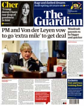 Guardian front page 14 December 2020.
