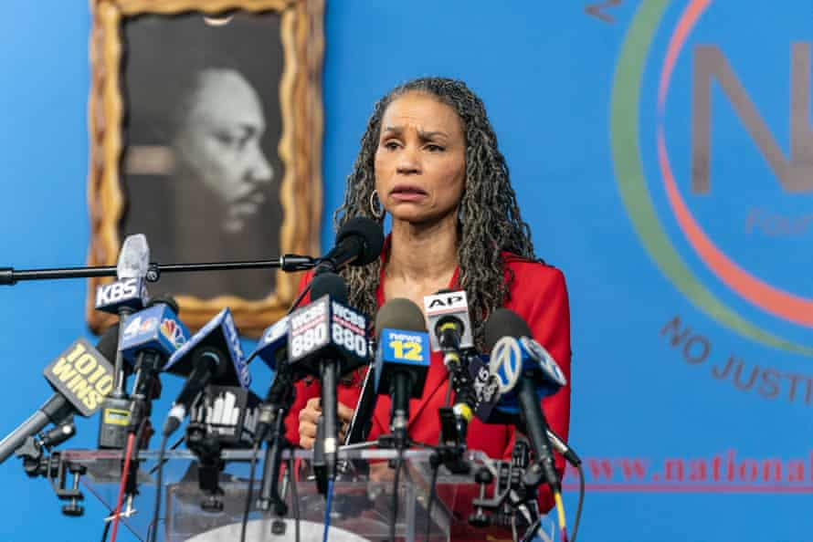 Mayoral candidate Maya Wiley speaks at a press conference on the rise of attacks against Asian Americans on 18 March. She has said of Yang: 'New York is not another startup where Andrew Yang can play with other people's money and fail up.'