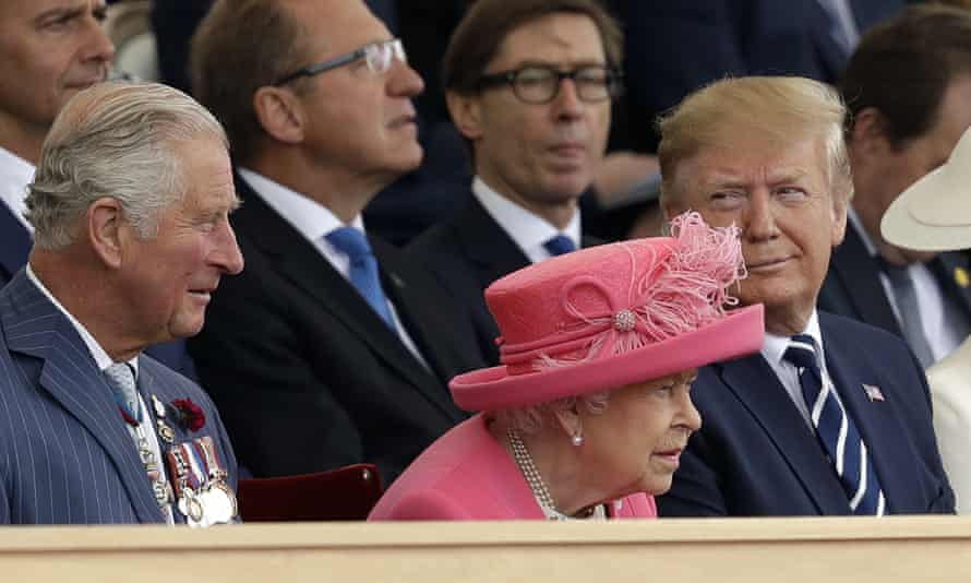 The Queen sits between President Trump and Prince Charles as they attend an event to mark the 75th anniversary of D-Day in Portsmouth.