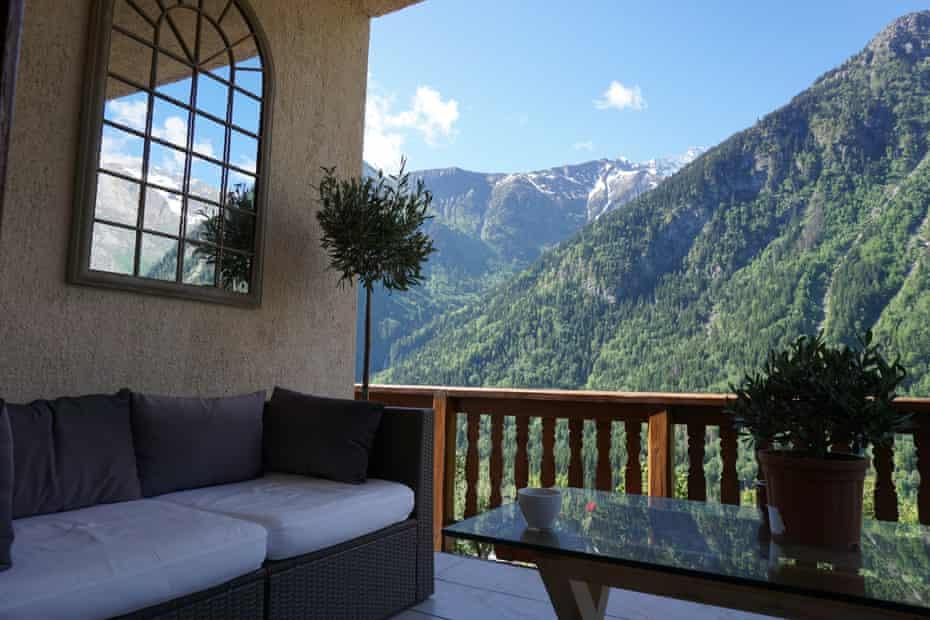 Terrace at Chalet Morville, Les Deux Alpes, France with mountain views