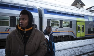 Migrants are returned to Turin after trying to cross from Italy into France by train