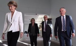 Michaelia Cash, Rosie Batty, the chair of the Coag advisory panel on domestic violence, Ken Lay, and Malcolm Turnbull on 7 September.