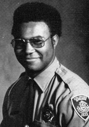 """Ron Stallworth in patrol uniform. African-Americans did not take well to Ron joining the police force, he says: """"I was too 'white', too 'blue'"""" and his white colleagues gawped at his Afro."""