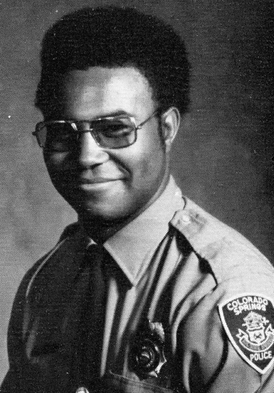 "Ron Stallworth in patrol uniform. African-Americans did not take well to Ron joining the police force, he says: ""I was too 'white', too 'blue'"" and his white colleagues gawped at his Afro."