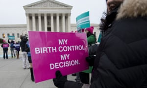 Protesters against birth control restrictions lobby the US supreme court