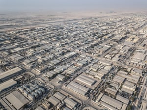 An aerial view of the Industrial Area, a vast expanse of warehouses, factories and workers' accommodation about half an hour from the capital Doha.