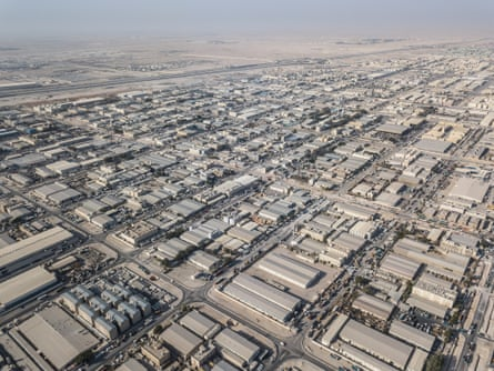 An aerial view of Doha's 'Industrial Area', much of which has been in total lockdown since an outbreak of the virus in March.