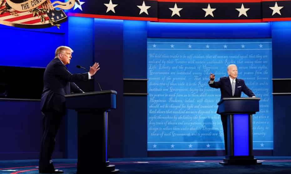 Donald J Trump spars with his Democratic presidential rival Joe Biden in Cleveland, Ohio on Tuesday.