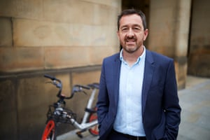 Chris Boardman, newly appointed as Greater Manchester's first cycling and walking commissioner, in St Peter's Square, Manchester