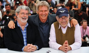 George Lucas, Harrison Ford and Steven Spielberg at the Indiana Jones and the Kingdom of the Crystal Skull premiere, Cannes 2008.