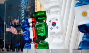 A sculpture featuring the Saudi Arabian flag, part of an exhibition called Candy Nations, outside the Oculus in New York City on 14 January.