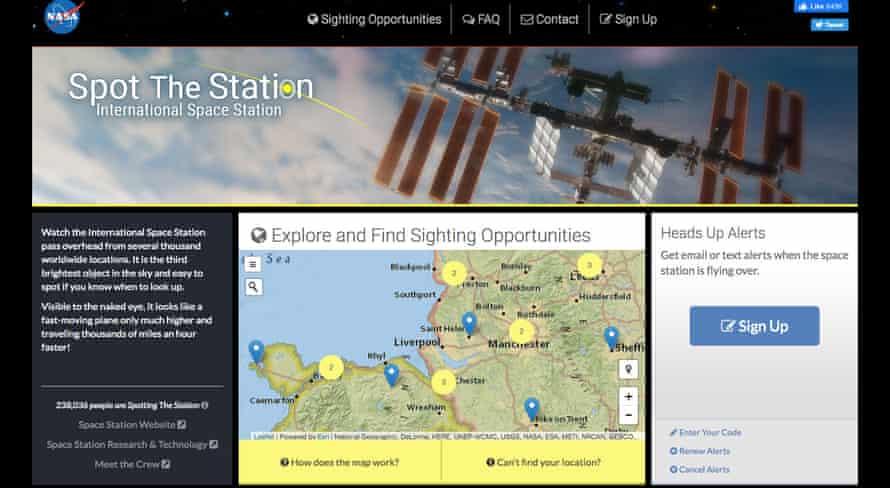 Screengrab from spotthestation.nasa.gov