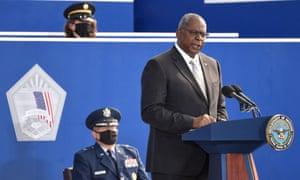 US Secretary of Defense Lloyd Austin speaks at the Pentagon.