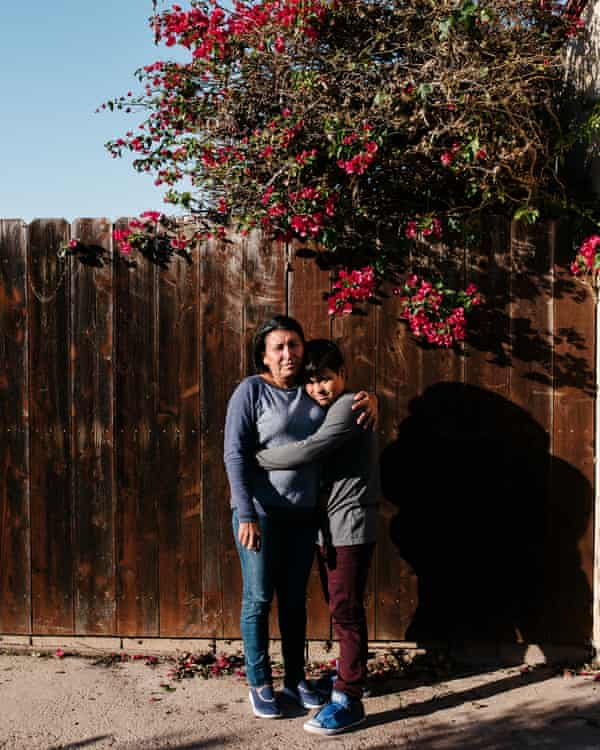 Maria Caceres poses for a portrait with her son, Javier, Bonita, California.