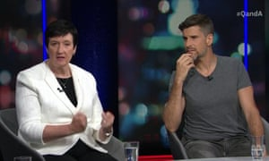 Jennifer Westacott, the head of the Business Council of Australia, and TV personality Osher Günsberg on Monday night's Q+A.