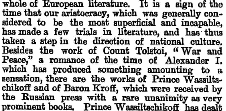 First mention of War and Peace in Manchester Guardian, 7 February 1871.