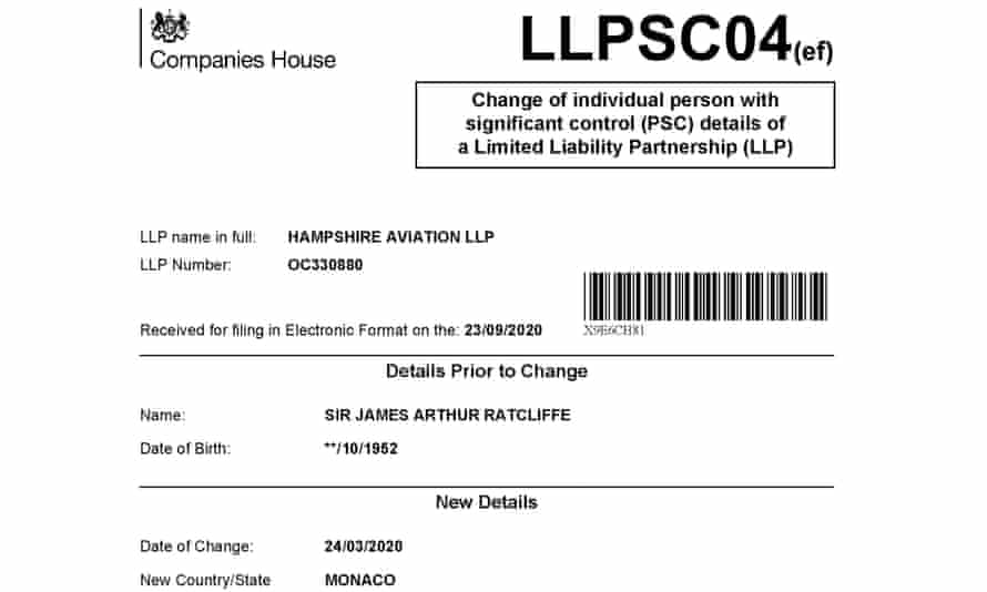 Companies House document for Hampshire Aviation.
