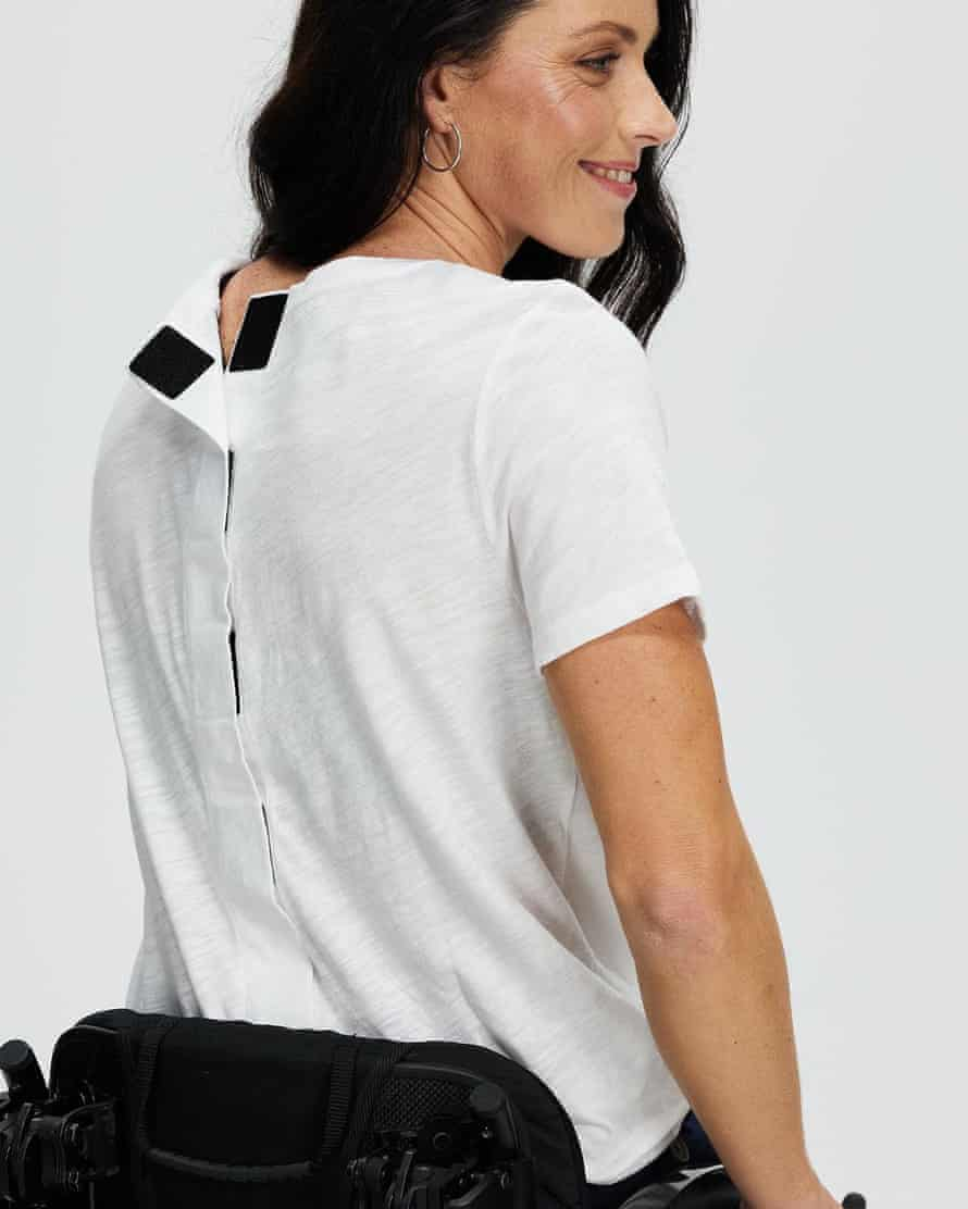 A t-shirt featuring a velcro back closure from Tommy Hilfiger's adaptive fashion line