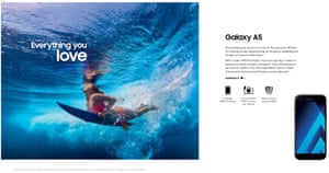 A Samsung advertisement inviting customers to capture their 'Sunday surf session at the beach'.