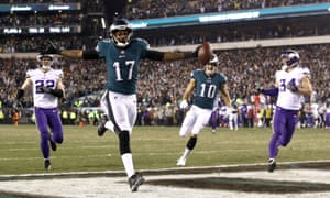 Philadelphia Eagles' Alshon Jeffery catches a touchdown pass from Nick Foles, who is enjoying a career half against the Minnesota Vikings.