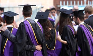 Students wearing gowns and mortarboards