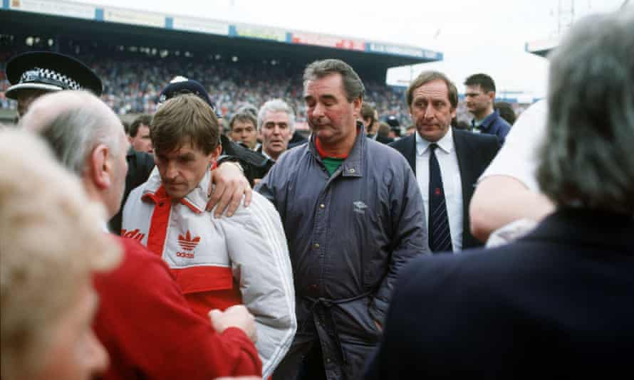 Kenny Dalglish, whose son was on the Hillsbrough terraces, and Brian Clough after the abandonment of the Liverpool v Nottingham Forest FA Cup semi-final in April 1989