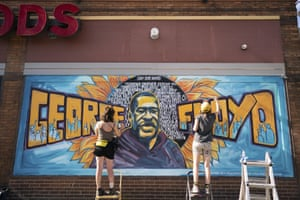 Artists began work on a mural honoring George Floyd and others who have died in police custody at 7am on Thursday. Organizer Xena Goldman said. 'I think that everyone can act in their own way, and this is how I know how to act,' she said.