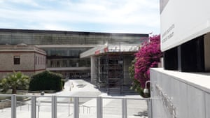 Workmen preparing the New Acropolis Museum which reopens to the public on 15 June, when international flights to Greece resume.