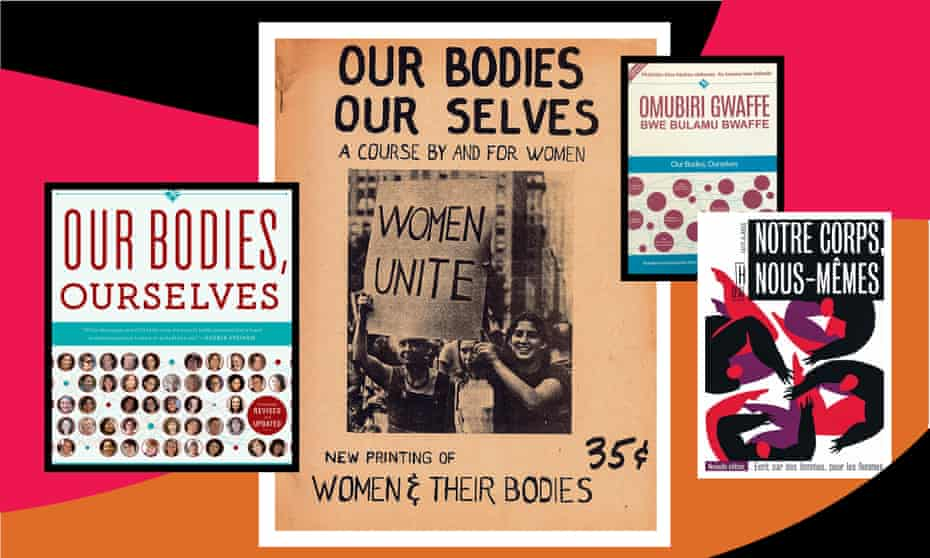The 1971 cover of Our Bodies, Ourselves (centre), plus the 2011 edition and Ugandan and French versions.