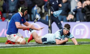 Scotland's Stuart McInally scores their third try during the Six Nations win against France last weekend.