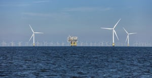Copyright Paul-Langrock.de. Offshore Windfarm Burbo Bank Extension, 32 Vestas wind turbines V164 each producing 8 Megawatt, alltogether 256 MW operated by Orsted. 3 Turbines with substation BBW02 Z01, behind Offshore Windfarm Gwynt Y Mor. Burbo Flats, Liverpool Bay, Irish Sea, United Kingdom, Great Britain. 3rd of July 2018