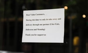 A sign out the front of a restaurant in Surry Hills as coronavirus hits small businesses.