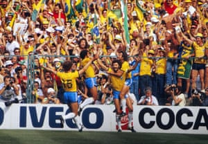 Brazil's Sócrates (with beard) celebrates his goal with Zico and Falcão (No 15) that made the score 1-1.