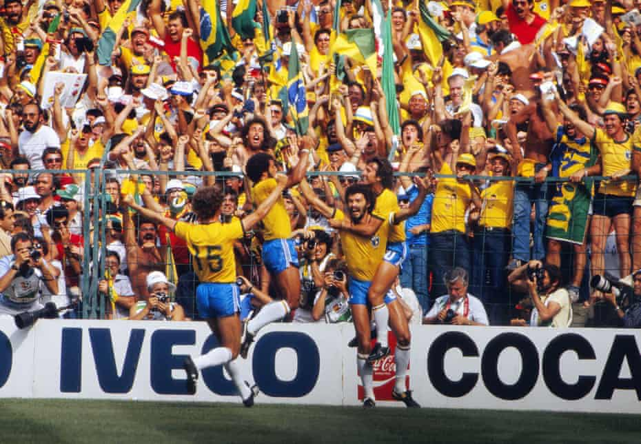 Brazil's Sócrates celebrates with Zico and Falcão after making the score 1-1