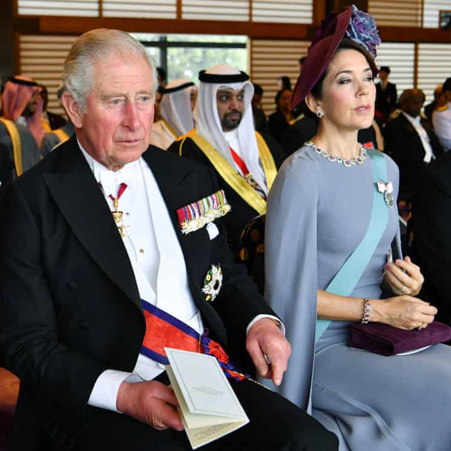 Prince Charles and Crown Princess Mary of Denmark attend the Sokuirei-Seiden-no-gi ceremony at the Imperial Palace in Tokyo.