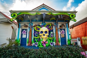 A home decorated to honour musician Dr. John