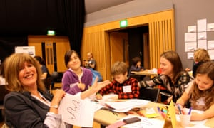 Squiggles with Ros Asquith Guardian cartoon and art family day, 10 October 2015.