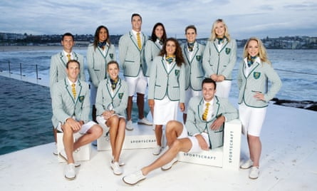 Preppy chic: Australian athletes pose in their team uniforms for the 2016 Rio Games.