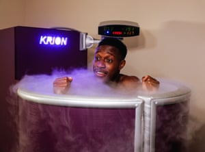 Danny Welbeck reacts while standing in the cryotherapy chamber