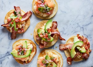Liam Charles' pancake tacos with bacon and avocado.
