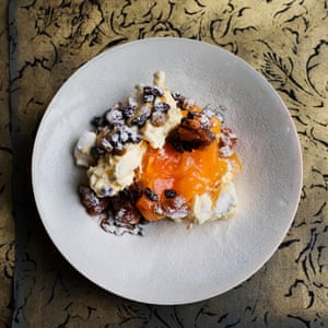Meringue, persimmon and hot mincemeat parfait.