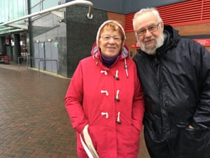 Liz and Neil Crawford get their chat on outside Old Trafford.
