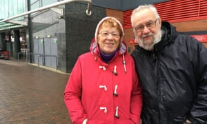 Neil Crawford and his wife Liz outside Old Trafford. 'We've been spoiled,' Neil Crawford said after the sacking of José Mourinho.