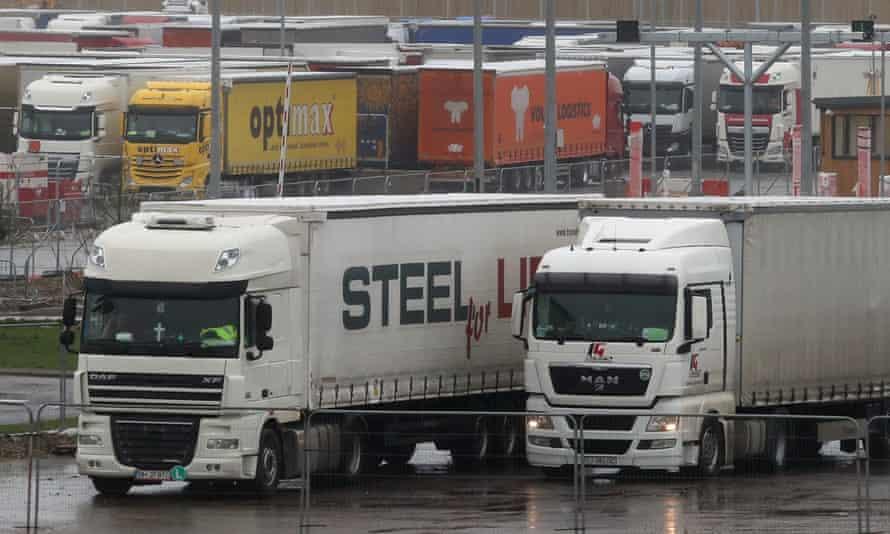 Lorries parked at the truckstop in Ashford, Kent.
