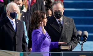 Kamala Harris is sworn in as vice-president by the supreme court justice Sonia Sotomayor.