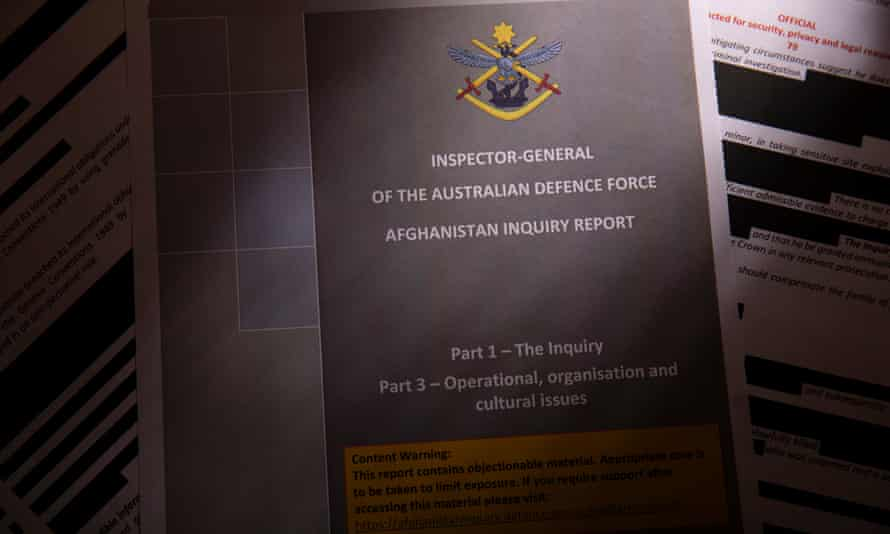 Pages of the inspector general of the Australian Defence Force Afghanistan inquiry report