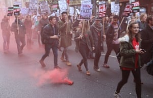 Protest march past Downing Street